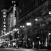 Chicago Theatre At Night Poster by Christine Till