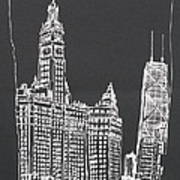 Chicago Wrigley And Hancock Buildings Poster