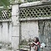 Children On Street Of Yangon Myanmar Poster