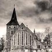 Church And Graveyard At Dusk Poster
