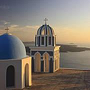 Churches At Sunset Firostefani Santorini Cyclades Greece  Poster