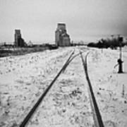 Cn Canadian National Railway Tracks And Grain Silos Kamsack Saskatchewan Canada Poster by Joe Fox