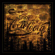 Coca Cola Wooden Sign Poster