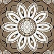 Coffee Flowers 8 Olive Ornate Medallion Poster