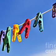 Colorful Clothes Pins Poster