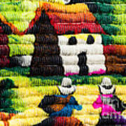 Colorful Fabric At Market In Peru Poster