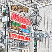 Colorful Neon Sign On Bourbon Street Corner French Quarter New Orleans Colored Pencil Digital Art Poster