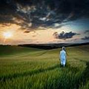 Concept Landscape Young Boy Walking Through Field At Sunset In S Poster by Matthew Gibson
