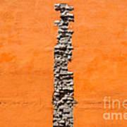 Crack Of Bricks In Orange Wall Poster