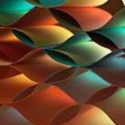 Curved Colorful Sheets Paper With Mirror Reflexions Poster