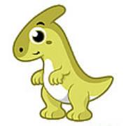 Cute Illustration Of A Parasaurolophus Poster