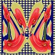 Dancing Tulip Red Exotic Flower Petal Based Wave Pattern  Created By Navinjoshi Reiki Healing Master Poster