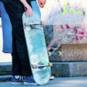 Detail Of Skateboard And Legs Poster