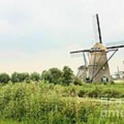 Dutch Landscape With Windmills Poster