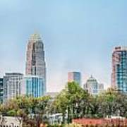 Early Morning Sunrise Over Charlotte City Skyline Downtown Poster
