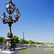 Eiffel Tower And Bridge On Seine River In Paris Poster