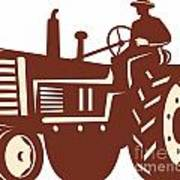 Farmer Driving Vintage Tractor Retro Poster