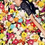Fashion Model Posing With Flowers Poster