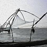 Fishing Nets On The Sea Coast In Alleppey Poster