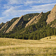 Flatirons With Golden Grass Boulder Colorado Poster