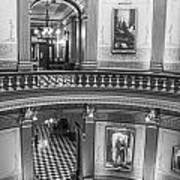 2 Floors Black And White Michigan State Capitol  Poster