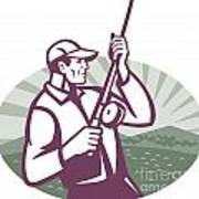 Fly Fisherman Fishing Retro Woodcut Poster