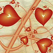 Fractal Red Hearts Poster