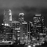 Gotham City - Los Angeles Skyline Downtown At Night Poster by Jon Holiday