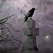 Surreal Crow In Gothic Purple Sky Poster