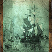 Grungy Historic Seaport Schooner Poster