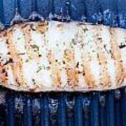 Halibut Fillet On Bbq Poster