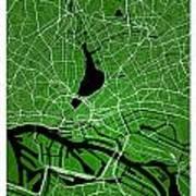 Hamburg Street Map - Hamburg Germany Road Map Art On Colored Bac Poster
