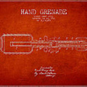 Hand Grenade Patent Drawing From 1916 Poster