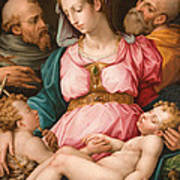 Holy Family With The Infant Saint John The Baptist And Saint Francis Poster by Giorgio Vasari