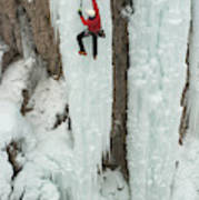 Ice Climber Ascending At Ouray Ice Poster
