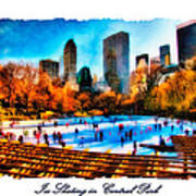 Ice Skating In Central Park Poster