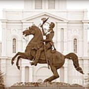 Jackson Square Statue In Sepia Poster