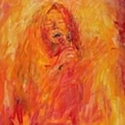 Janis Joplin On Fire Poster