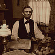 Lincoln At Breakfast Poster by Ray Downing