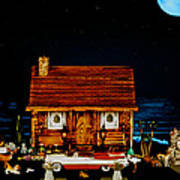 Log Cabin Scene With The Classic 1959 Dodge Royle Convertible In Color Poster