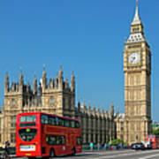London, Big Ben And Traffic On Poster