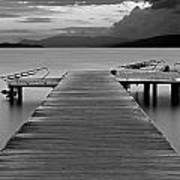 Long Exposure On Wooden Pier At Dawn Poster