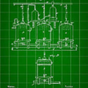 Louis Pasteur Beer Brewing Patent 1873 - Green Poster