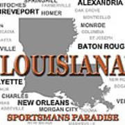 Louisiana State Pride Map Silhouette  Poster