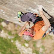 Man Climbing Re Azul, An Historic 7b Poster
