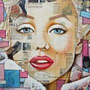 Marilyn In Pink And Blue Poster