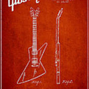 Mccarty Gibson Electrical Guitar Patent Drawing From 1958 - Red Poster
