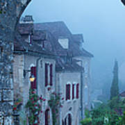 Misty Dawn In Saint Cirq Lapopie Poster