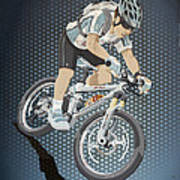 Mountainbike Sports Action Grunge Color Poster