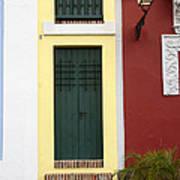 Narrow Yellow Building In Old San Juan Poster